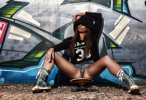 women, sitting, ass, shoes, tanned, hoods, sweater, wall, jean shorts, skateboard, necklace, T-shirt, crotch floss, long hair, graffiti