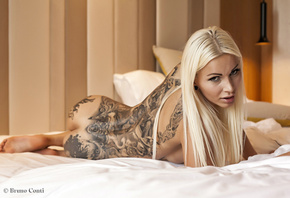 women, nude, ass, tattoos, back, in bed, straight hair, looking at viewer,  ...