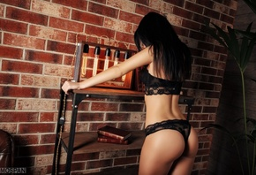 women, ass, back, brunette, black hair, black lingerie, bricks