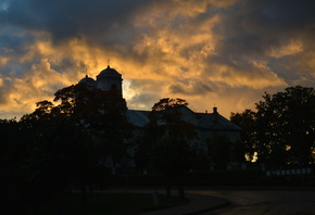 sunrise, church, sky