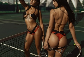 women, model, Angelica Anderson, Anzhelika Anderson, Gayane Bagdasarian, tanned, tennis rackets, tennis balls, tattoo, bikini, sideboob, black hair, belly, pigtails, depth of field, ass, back, Alexander Belavin, closed eyes, armpits, pierced navel, red na