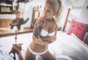 women, blonde, brunette, white lingerie, arms crossed, belly, kneeling, in bed, looking away, Jonny Otten