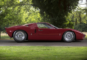 Ford, Ретро, 1966, GT40, Road, Version, Бордовый, Сбоку, Металлик