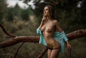 women, nude, belly, brunette, depth of field, women outdoors, ribs, hips, s ...