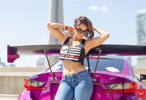 Tianna Gregory, women, model, brunette, women outdoors, car, T-shirt, pants ...
