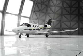 3d aircraft, private jet, citation m2 latitude, hangar