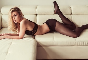 Avery Milan, women, pantyhose, blonde, black lingerie, lying on front, couch, ass, feet in the air, Jason Harynuk
