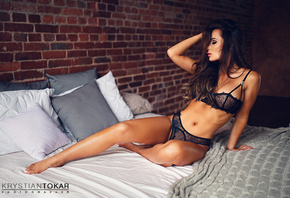 women, in bed, sitting, closed eyes, black lingerie, wall, bricks, belly, b ...