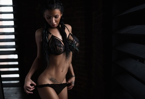 Aleksandra Ardyakova, women, tanned, belly, curvy, window, black hair, black lingerie, tattoo, holding panties, ponytail, hips