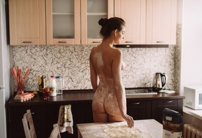 women, nude, back, flour, table, kitchen, boobs, ass, tanned