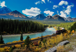 Banff, national park, Alberta, Bow River, Canada, Национальный парк, Банф,  ...