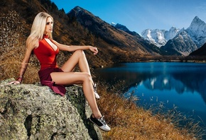 women, nude, tanned, sitting, blonde, lake, shirt, shoes, nature