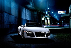 Audi, R8, V10, white, front, ауди, белый, мост, эстакада