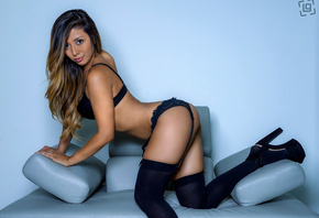 women, tanned, arched back, black stockings, black lingerie, ass, garter be ...