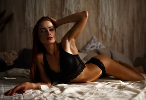 women, black lingerie, lying on front, in bed, tanned, hands on head, armpits, ass, portrait, Artem Savinkov
