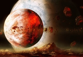 sci fi, large, rocks, red, planet, космос