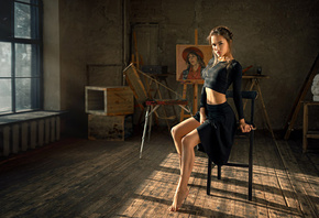 Anastasia Lis, women, skirt, sitting, belly, brunette, chair, window, black ...