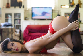 Kat Sweets, women, bent over, ass, on the floor, black stockings, arched back, red lingerie, brunette, Marvin Chandra