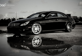 Mercedes, отражение, 360 three sixty forged, мерседес, black, лужа, чёрный