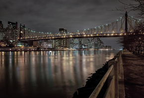 New York City, город, park, East River, benches, Мост, bridge, ночь