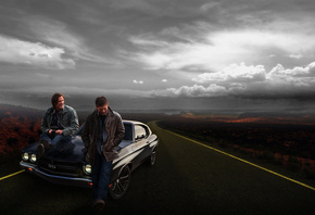 car, chevrolet, supernatural, winchester brothers, road