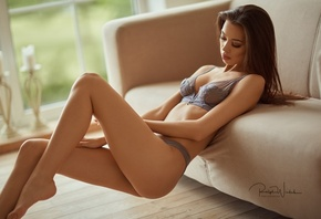 Angelika Wachowska, women, ass, couch, lingerie, brunette, closed eyes, depth of field