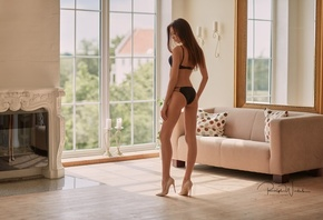 Angelika Wachowskawomen, tanned, ass, skinny, black lingerie, back, high heels