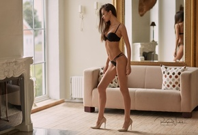 Angelika Wachowska, women, tanned, portrait, high heels, black lingerie, skinny, belly, window, mirror, reflection, couch
