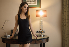 Kseniya Kokoreva, Xenia Kokoreva, women, black dress, portrait, lamp, brunette, Sergey Fat