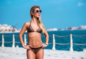 women, blonde, tanned, belly, hands on hips, sunglasses, bikini, women with ...