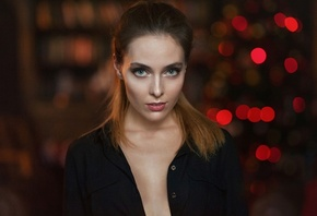 Amina Katinova, women, face, portrait, depth of field, Maxim Maximov