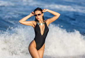 Angelina Petrova, one-piece swimsuit, cleavage, sunglasses, armpits, tanned ...