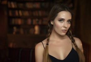 Amina Katinova, women, portrait, pigtails, ponytail, depth of field