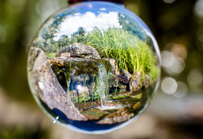 reflection, glass ball, Oslo, Botanical, Garden, Norway, макро