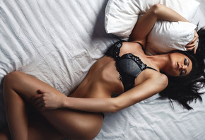 Daria Ivanova, women, top view, belly, closed eyes, in bed, ass, black lingerie, model
