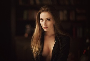 Amina Katinova, women, face, portrait, boobs, Maxim Maximov