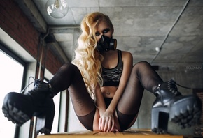 Arishka Mironova, women, blonde, gas masks, sitting, tanned, pantyhose, pierced navel, strategic covering