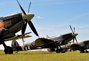 british, field, spitfire lf.ixb, grass, aircraft