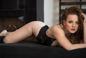 Cat Hedlund, women, black lingerie, lying on front