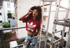 women, tanned, portrait, T-shirt, glasses, Adidas, pants, torn jeans, Sebastian Heberlein