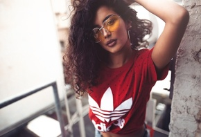 women, tanned, portrait, T-shirt, glasses, Adidas, Sebastian Heberlein
