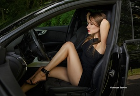 women, sitting, high heels, Guenter Stoehr, women with cars, black dress, brunette