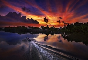 Sunset, vietnam, sun, set, river, thanhfab
