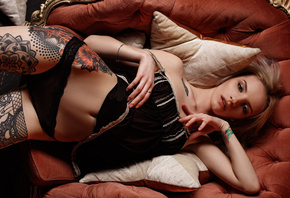 Christina May, women, blonde, tattoo, black lingerie, belly, top view