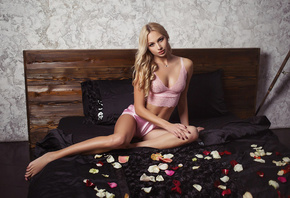 Anastasia Volkova, women, sitting, in bed, pink lingerie, painted nails, belly, brunette, necklace, pierced navel, blonde