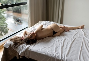 Ana Freire, black panties, topless, ass, back, in bed, window, brunette