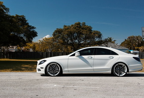 cls, 550, white, side view, mercedes, matte, tuning