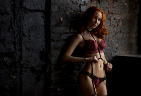Anna Boevaya, women, tanned, belly, redhead, lingerie, garter belt, wall, portrait