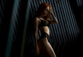 Anna Boevaya, women, tanned, belly, redhead, glasses, black lingerie, ass, portrait, see-through clothing