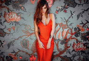 Anastasia Scheglova, Ivan Gorokhov, red dress, tattoo, portrait, women, bru ...